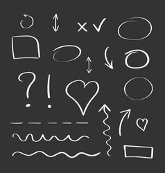 Hand drawn arrows and circles icon set collection vector