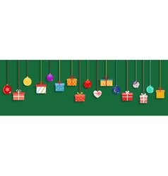 Hanging gift boxes and christmas balls vector image