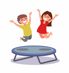 Happy boy and girl jumping vector