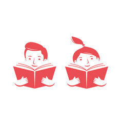 happy child reading book learning study symbol vector image