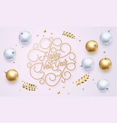 happy new year font text flourish golden vector image