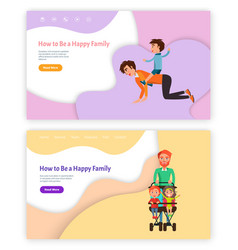 How to be happy family father with kid riding back vector