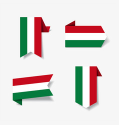 hungarian flag stickers and labels vector image