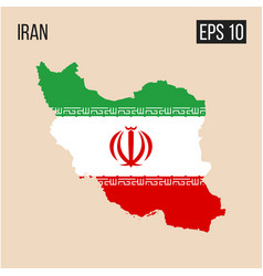 iran map border with flag eps10 vector image