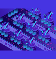 isometric futuristic production line industrial vector image