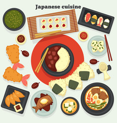 japanese cuisine dishes and meals oriental food vector image