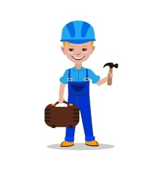 Kids builder character vector image