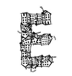 Letter E made from houses alphabet design vector image