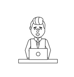 Line profesional businessman with laptop and vector