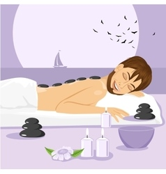 man having stone massage in a spa vector image