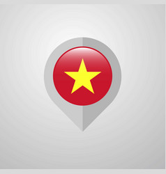 map navigation pointer with vietnam flag design vector image