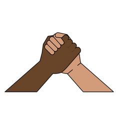 Multiracial hand holding symbol vector