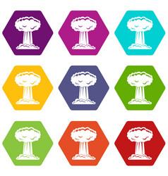 Mushroom cloud icon set color hexahedron vector