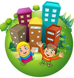 Muslim boy and girl at the buildings vector