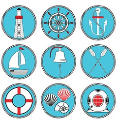 Nautical elements type 1 in knottet circle vector image