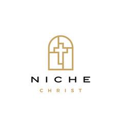 niche christ cross door arch church monoline logo vector image