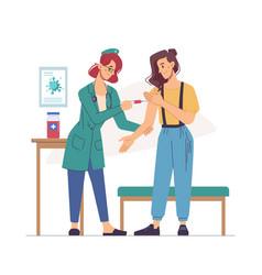 Nurse making injection to woman hand flat cartoon vector