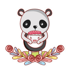 Panda with sushi kawaii vector