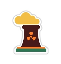 Paper sticker on white background toxic fumes pipe vector