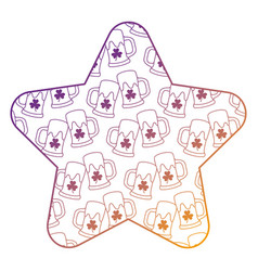 Pattern shape star with st patrick beer glass vector