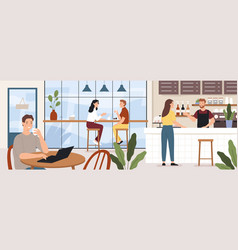 People in coffeehouse cafe interior with man vector