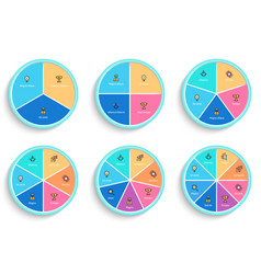 Pie charts with 3 4 5 6 7 8 steps sections vector