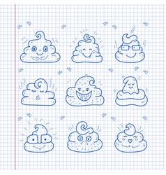Poop emoji face icons crap signs cartoon shit vector