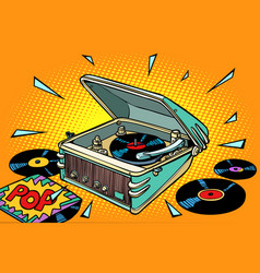 Pop music vinyl records and gramophone vector