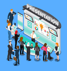 presentation during exhibition isometric vector image