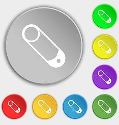 Pushpin icon sign Symbol on eight flat buttons vector