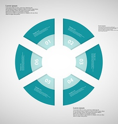 Ring from six parts from blue ribbons vector