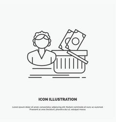 salary shopping basket shopping female icon line vector image