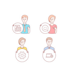 service smile and social media icons notebook vector image