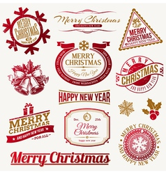 set decorative christmas holidays labels vector image