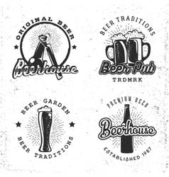 set logos beer concepts labels in retro vector image