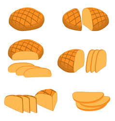 Set of baked bread vector