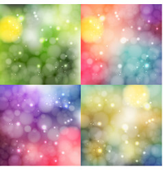 set of defocused backgrounds with lights vector image