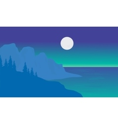 Silhouette of sea and moon vector