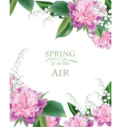 spring peonies and lilly of the valley flowers vector image