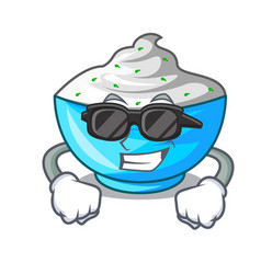 Super cool sour cream in a wooden bowl cartoon vector