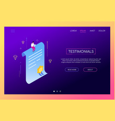 testimonials concept - modern isometric web vector image