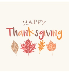 Thanksgiving card with autumn leaves vector