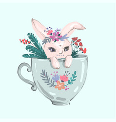 the rabbit sitting in big cup and cute flower vector image