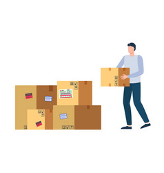 transportation good paper box delivery vector image