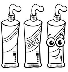 Tube glue character clip art coloring page vector