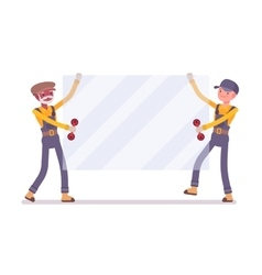 Two men are carrying a sheet of glass vector