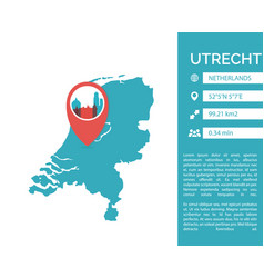 Utrecht map infographic vector