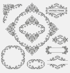 Vintage decorative frames set vector