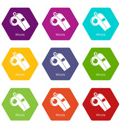 whistle icons set 9 vector image