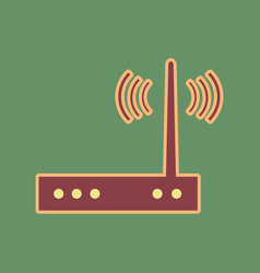 Wifi modem sign cordovan icon and mellow vector